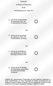 Stimmzettel der Bürger und Bürgerinnen - Volksbefragung 20-01-2013