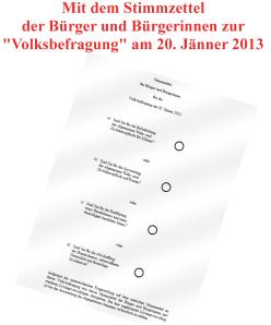 Stimmzettel Volksbefragung 20-1-2013