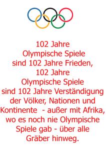 102 Jahre Olympische Spiele - Aber nicht in Afrika