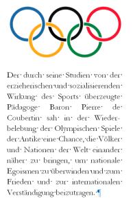 Olympische Spiele - Egoismen überwinden