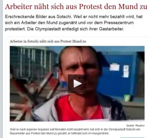 Sochi Arbeiter näht sich Mund aus Protest zu - Welt-de