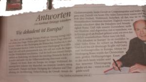 Schönborn Christoph - Wie obsolet sind seine Antworten