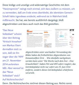 Neues Volksblatt - FPÖ - Haxenspreizer