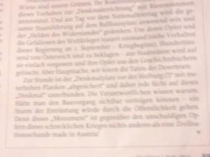 """Denkmal am Ballhausplatz ist für FPÖ-ZZ eine """"Zivilisationsschande"""" der """"Kameradenmörder"""""""