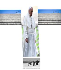 Am christlich-faschistischen Krieger-Denkmal Redipuglia ruft Papst Franziskus um Frieden - Ein Hohn