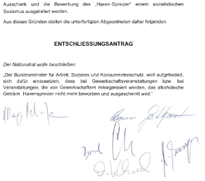 FPÖ Entschließungsantrag 1 - Gegen sozialistischen Sexismus