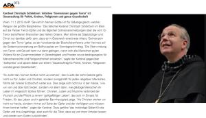 Christoph Schöborn will den schwarzen Schafbock nicht kennen