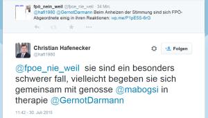 FPÖ-NR Christian Hafenecker reagiert wie Freiheitliche nur reagieren können