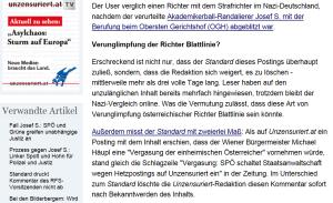 FPÖ Unzensuriert - Standard und wie das ist mit dem Löschen von Postings