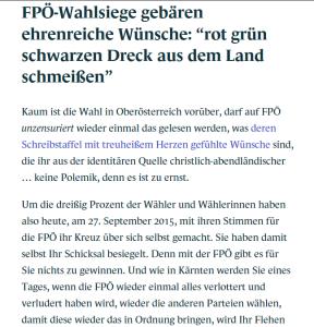 Schreibstaffel FPÖ - Aus dem Land schmeißen