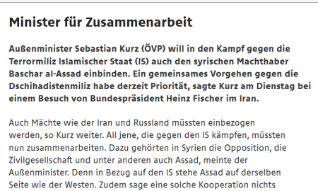 ORF - 9-9-2015 - Assad einbinden - Sebastian Kurz