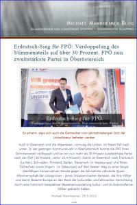 Michael Mannheimer freut sich über Wahlerfolg der FPÖ