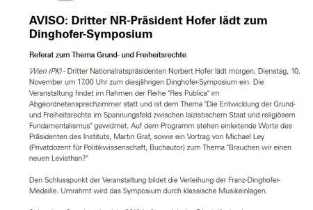 Norbert Hofer lädt Martin Graf mit Michael Ley ins Parlament