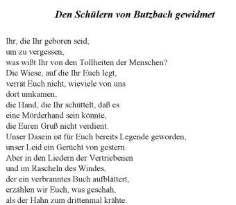 Hans Sahl Den Schülern gewidmet