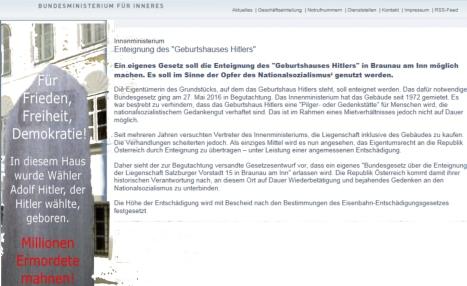 Hitler Geburtshaus - Entschädigung der Enteignung nach dem Eisenbahnentschädigungsgesetz