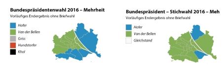 Hofer - Van der Bellen in Wiener Bezirken