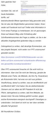 Norbert Hofer - Schreiben 29-06-2016 betreffend FPÖ unzensuriert