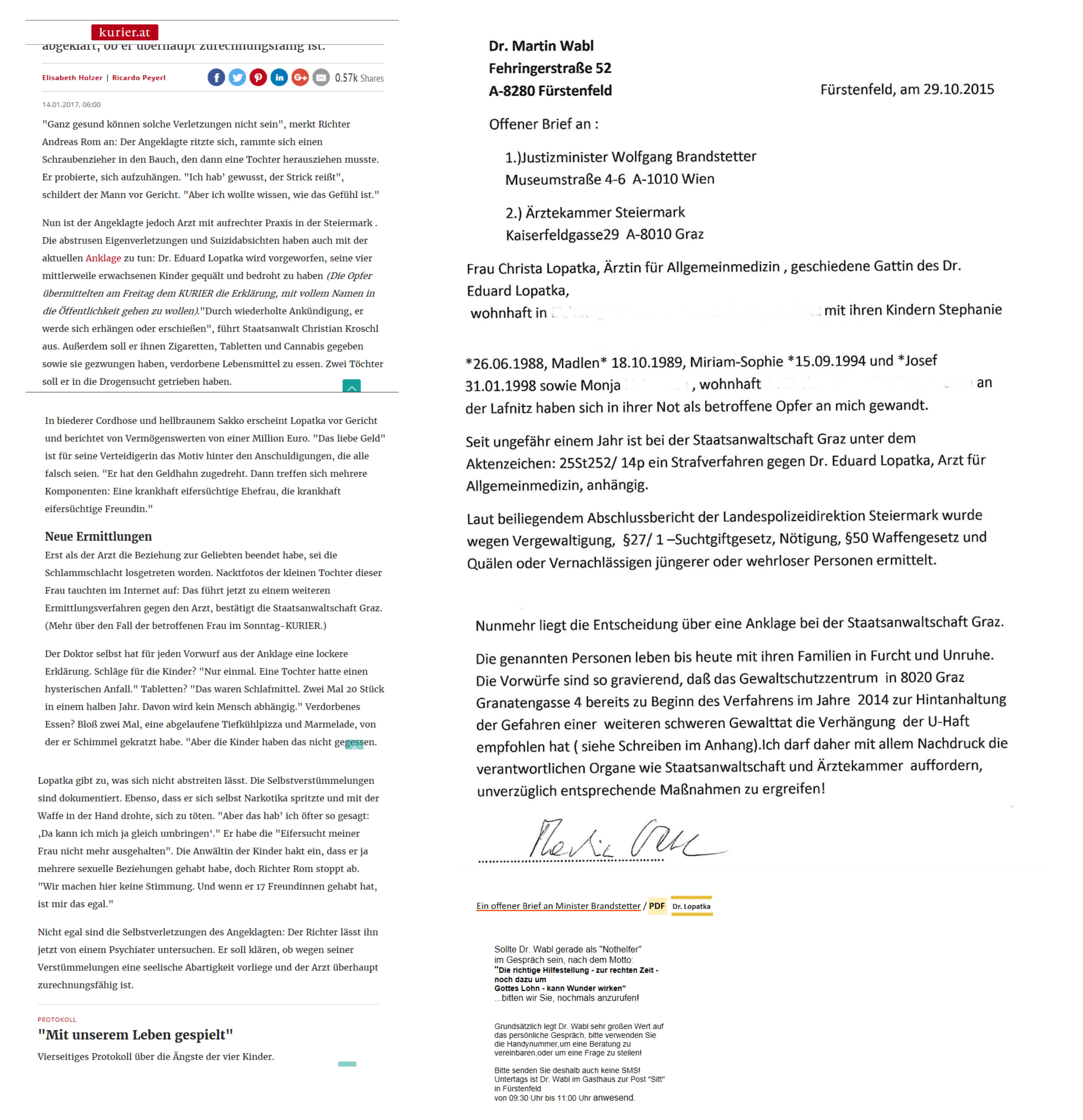 """Dr. Lopatka und ein """"offener Brief"""" an Justizminister Brandstetter ..."""