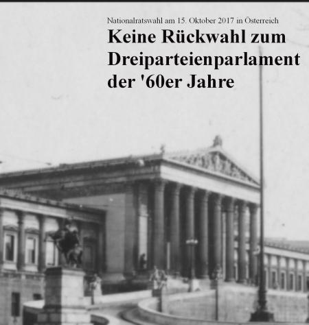 Österreich Nationalratswahl 15-10-2017 Keine Rückwahl zum Dreipareienparlament der 1960er Jahre