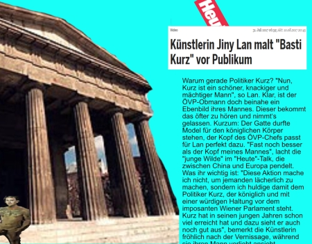 Jiny Lan malt Sebastian Kurz mit falschem Hintergrund