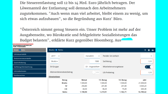 Maximalbruttolohn für alle Arbeitnehmerinnen bringt allen eine Abgabenquote von 20 Prozent - Da bleibt ordentlich was für den Aufbau wie ihn Sebastian Kurz versteht