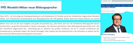 FPÖ-Bildungssprecher Mölzer führt durch die Ausstellung zur Nationalratswahl Oktober 2017