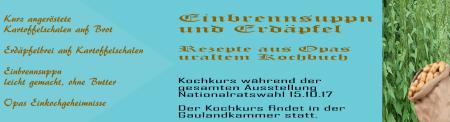 Nationalratswahl 15-10-2017 Ausstellung - Kochkurs Einbrennsuppn und Erdäpfel