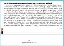 ÖVP und FPÖ im Gedenkjahr 2018 - Schaften geht voran