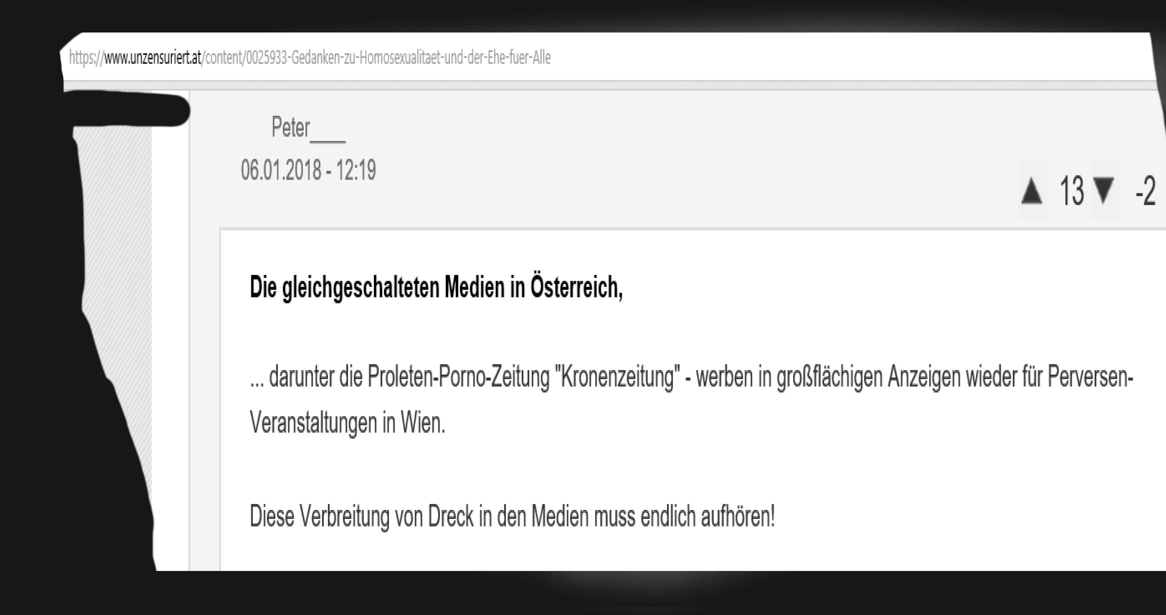 FPÖ unzensuriert - Kronenzeitung - Proleten-Porno-Zeitung