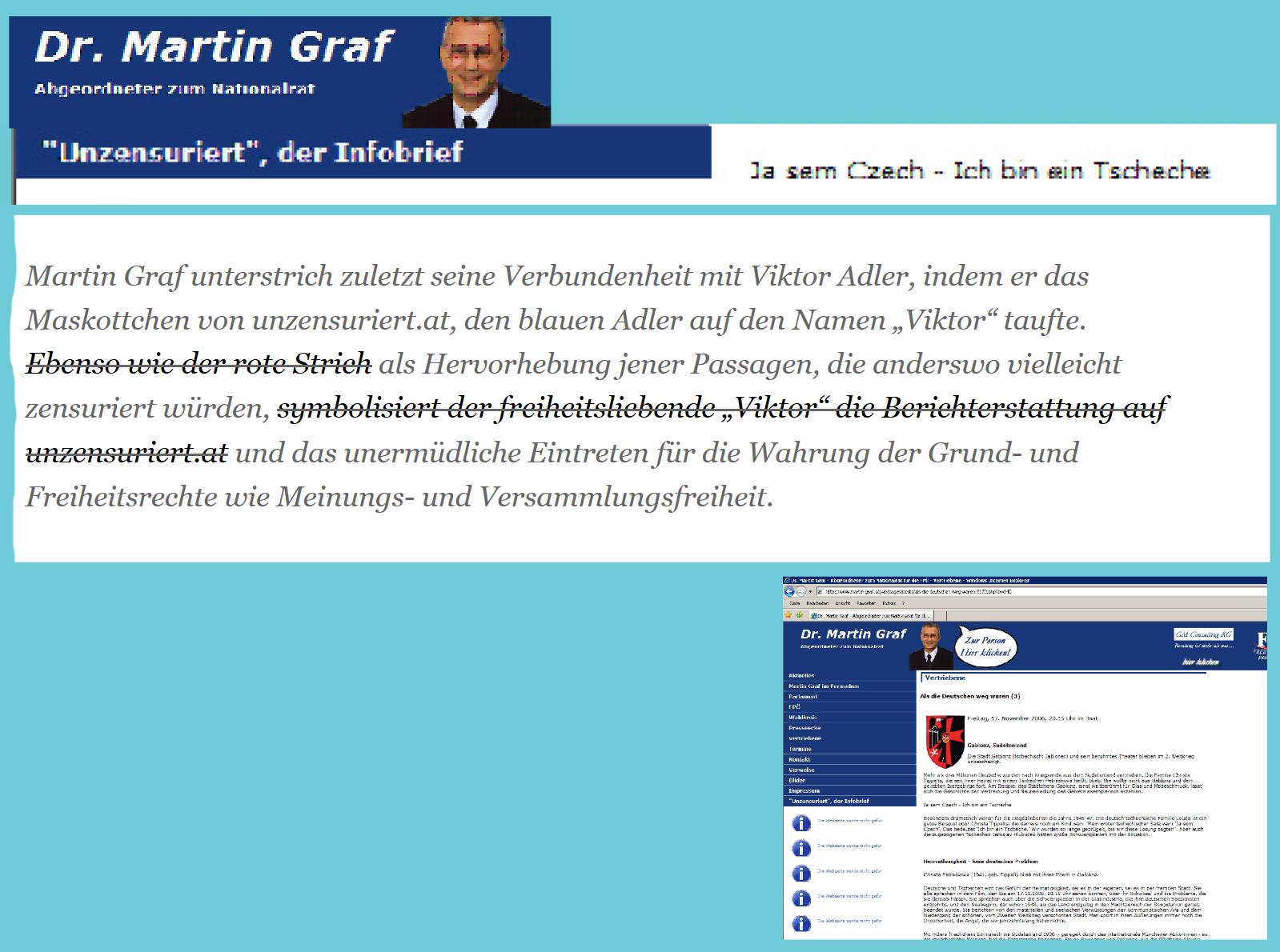 FPÖ Unzensuriert - Maskottchenpate und Gründer Martin Graf
