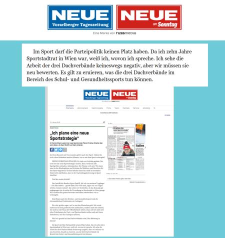 Neue Vorarlberger Tageszeitung - Strache - Da ich zehn Jahre Sportstadtrat in Wien war, weiß ich, wovon ich spreche