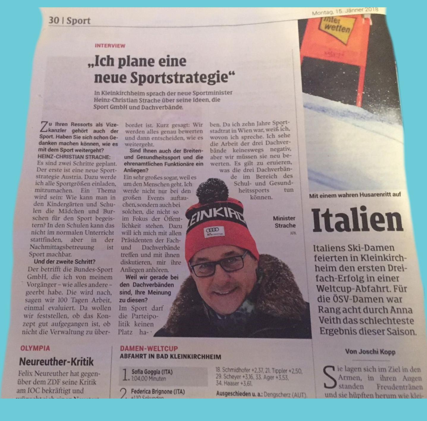 Vizekanzler Strache - Da ich zehn Jahre Sportstadtrat in Wien war - Jänner 15 - 2018 - Kleine Zeitung