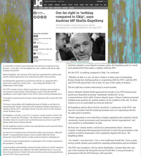 Austria Jew Martin Engelberg - The Jewish Chronicle - Our fair-right