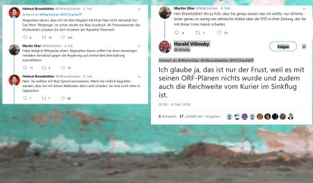 Harald VIlimsky bellt gegen Helmut Brandstätter und meldet gleich seinem Vizekanzler