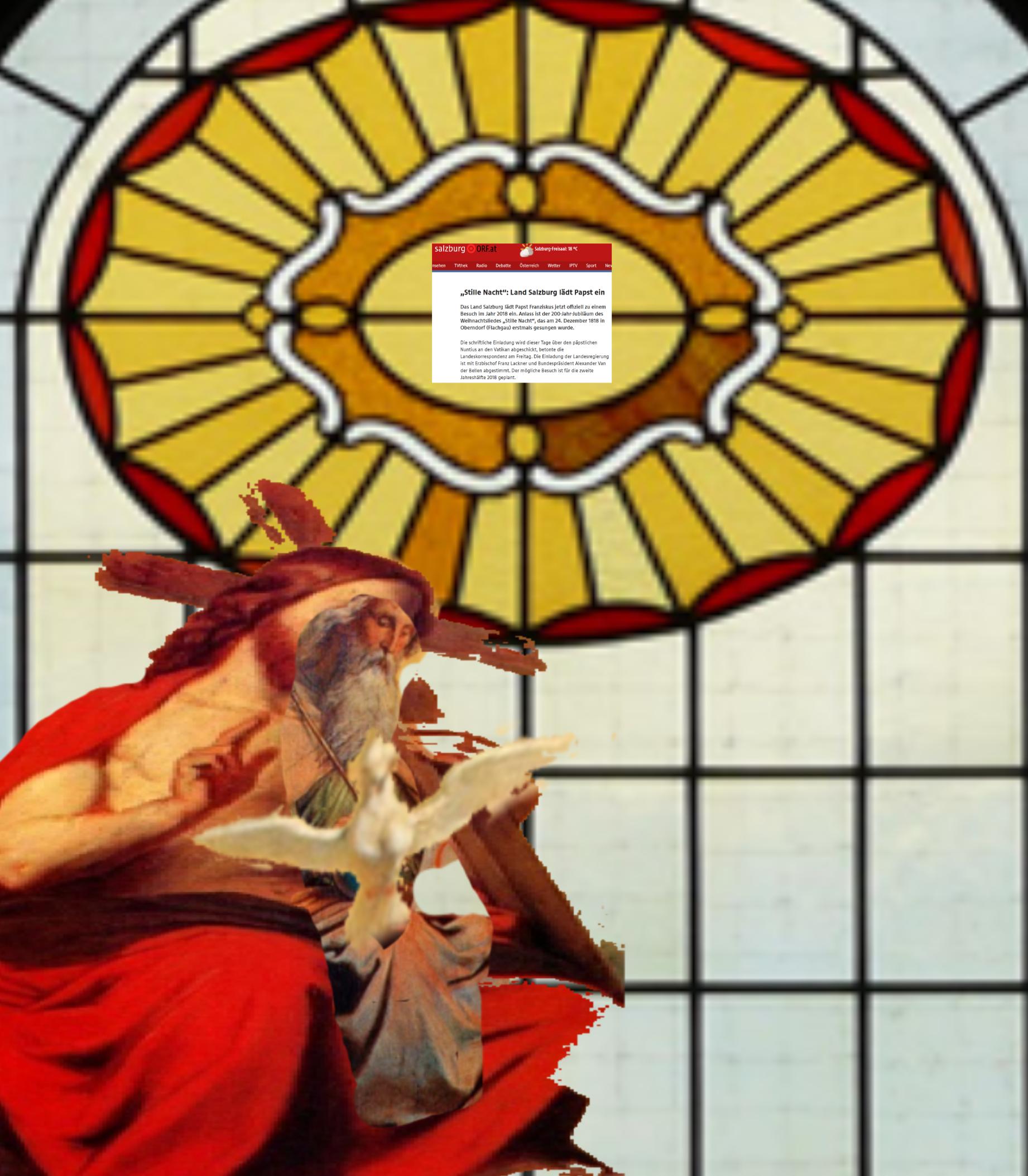 Gottvater und Gottsohn und Taube heiliger Geist sorgen für Nachwuchs in der Familie Ebenbild Gottes