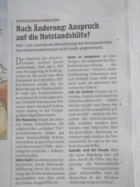 Österreich - ÖVP-FPÖ-Regierung - Anspruch der Menschen auf Armut und Rechtelosigkeit