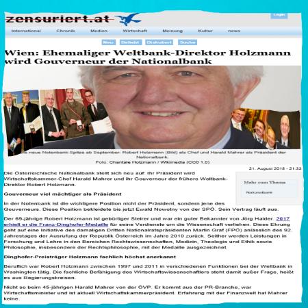 In die österreichische Nationalbank zur Tea Party bringt Robert Holzmann seine Franz-Dinghofer-Medaille mit